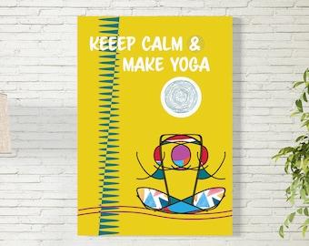 Art Print/Yoga/Printable  Wall Art/Colorful Poster / Contemporary Design Prints/Yellow/Digital Download
