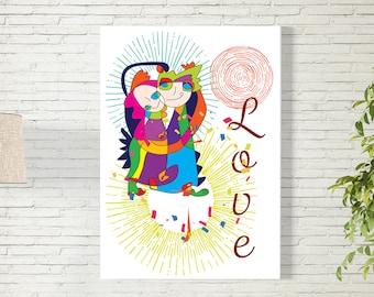 Art Print/Love Couple/Printable  Wall Art/Colorful Poster / Contemporary Design Prints/Digital Download