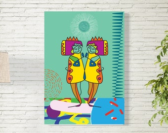 Art Print/Believe/ Happy Couple/Printable  Wall Art/Colorful Poster / Contemporary Design Prints/Digital Download