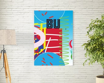 Art Print/Be you/Printable  Wall Art/Colorful  Art / Contemporary Design Prints/blue Red/Digital Download