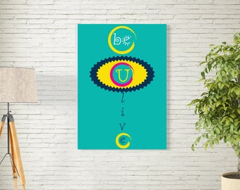 Art Print/Be U Lןve/Printable  Wall Art/Colorful Abstract / Contemporary Design Prints/Digital Download