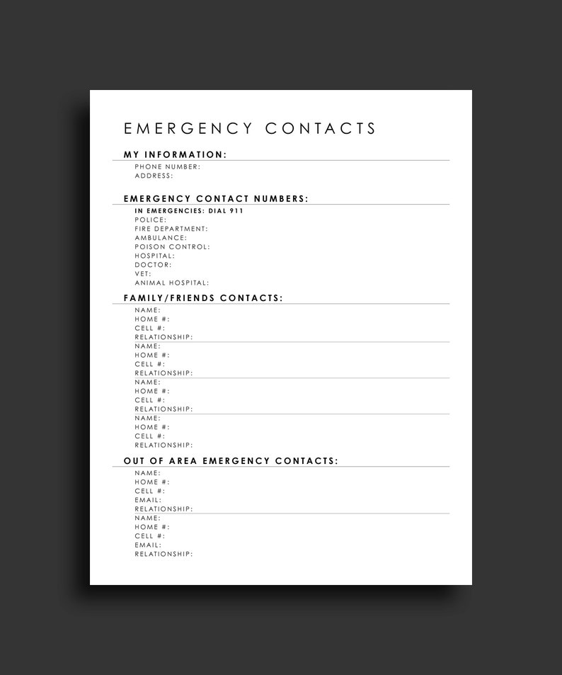picture regarding Printable Emergency Contact List known as Unexpected emergency Make contact with Type Crisis Speak to Printable Crisis Get hold of Sheet Unexpected emergency Get in touch with Listing Innovative Crisis Make contact with Variety Very simple Listing