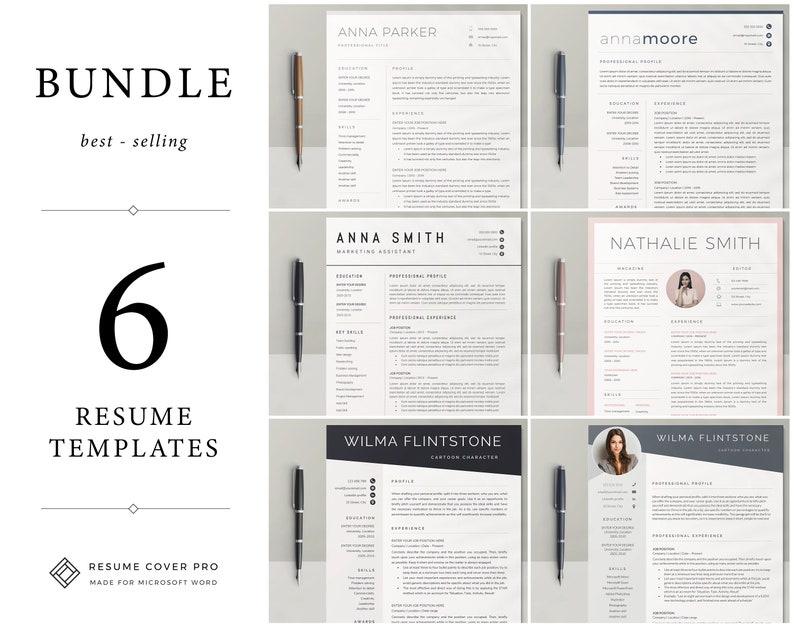 7e134686c Resume Template Bundle Professional Resume CV Template