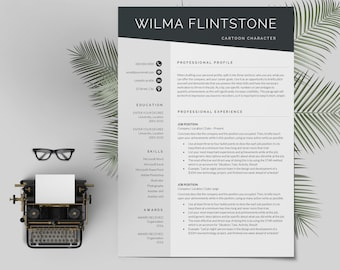 Modern Resume Template | CV Template + Cover Letter | Professional and Creative Resume | Teacher Resume | Word Resume | Instant Download