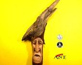 wood spirit carving SAMURAI man oak root sculpture,wooden wall hanging design driftwood wall art,handcarved wood face sculpture