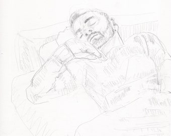 Pencil drawing man sleeping