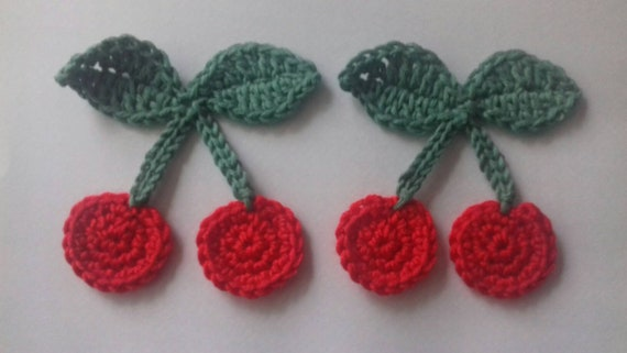 Crochet Cherry And Leaves Applique Set Of Two Cardmaking Etsy
