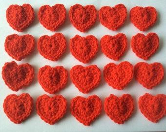 Crochet hearts. Set of 20. Wedding, cardmaking, valentine, applique, embellishments   4cm