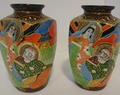 Antique Japanese Satsuma Moriage Hand Painted Pair of Vases