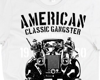 a8d24c466 Men's 1920's Gangster T-SHIRT, Mobster Shirt, Classic Gangster shirt, Mafia  Shirt, Old Fashioned mobsters, Vintage, Vintage mob style shirt