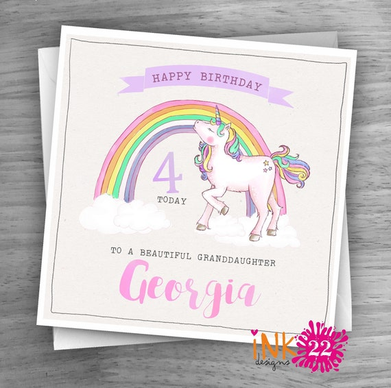 Always Be A Unicorn Daughter, Niece Personalised Handmade Birthday Card