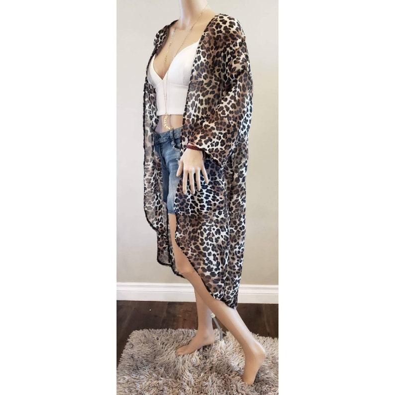 sheer fabric kimono swimwear Fierce Feline- Long cover up beachwear animal print