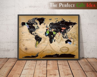 World Scratch Map Etsy - Framed scratch world map
