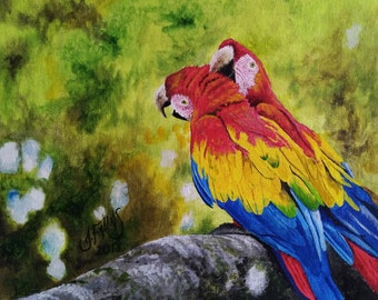 Oil painting scarlet macaws in the forest