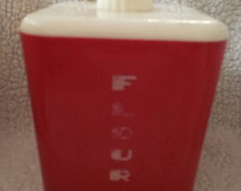 Vintage Lustro Ware Red & White Kitchen Canister Set
