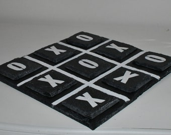 Noughts and crosses, Board Game, decorative slate.
