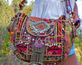banjara traditional embrodery ibiza style gypsy boho shoulder bag