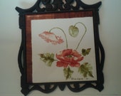 Beautiful Cast Iron Trivet Tile made in England by artist Edna Cave 1980