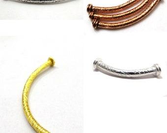 6pcs 47mm Vintage Leaf Carved Curved Tube Bracelet Connector Charm Beads