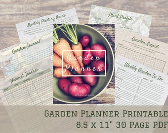 """Garden Planner and Journal - Printable PDF - Calendar 2021 - 30 Pages - 8.5""""x11"""""""