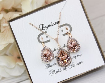 d03c8feb5be Swarovski Vintage Rose Bridesmaid Jewelry Set Blush Pink Earrings and  Necklace Rose Gold Jewelry Morganite Jewelry Free Personalization!!