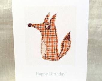 Happy Birthday Card. Foxy. Free-machine Embroidery Print. Birthday cards. Blank cards.