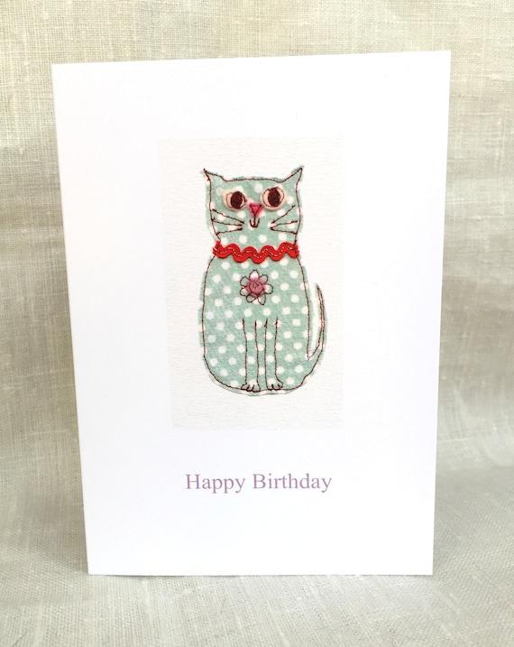 Happy Birthday Card Dotty Cat Free Machine Embroidery Print