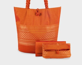 Cambodian Bag, Clutch, and Wallet Set