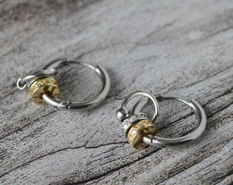 Viking earrings Stainless steel patterned hoop earrings Chain link patterned earrings