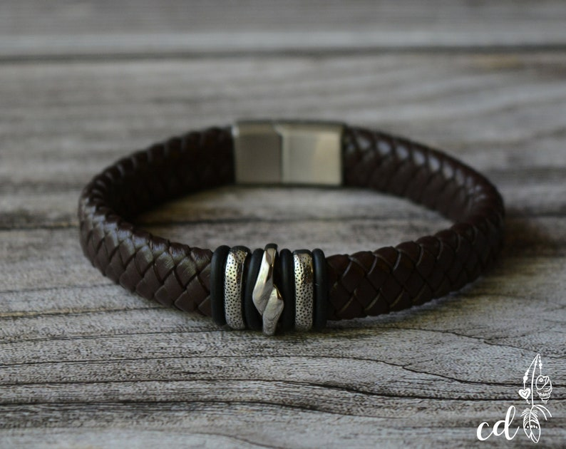 Rustic leather bracelet for men or women Choose a Custom leather cord Stackable bracelet with Stainless steel fittings and clasp