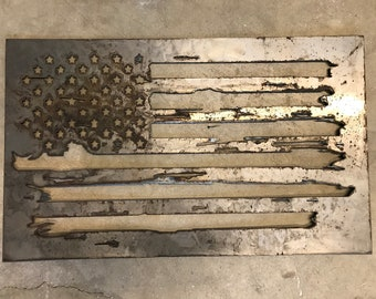 Tattered American Flag Metal Wall Art