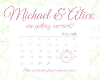Wedding Save the Date Invite - Printable PDF - Pink, Green, Calendar, Floral - Customisable