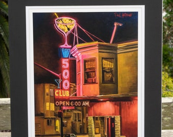 The 500 Club, Mission San Francisco bar - matted print signed by artist