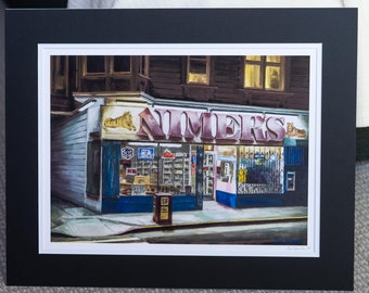 Nimer's, Western Addition, San Francisco- matted print signed by artist