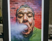"""Joey Diaz - """"Pre Church"""" matted print signed by artist"""