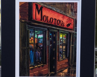 Molotov's Bar, Haight St. San Francisco - matted print signed by artist