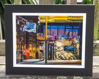 The Owl Tree, Nob Hill San Francisco bar - matted print signed by artist