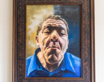 """Joey Diaz - """"The Morning Joint"""" original oil painting on wood, 16 x 12 inches, 2018.  Framed."""