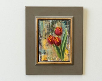 """original oil painting : """"Red Tulips Against Abstract""""  by Paul Hermann"""