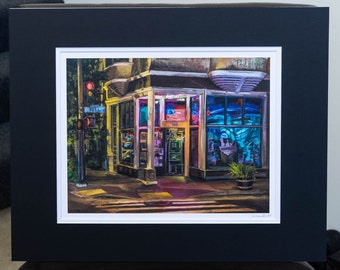 Madrone Art Bar, San Francisco - matted print signed by artist