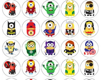 Minions superheros wafer paper edible cake toppers birthday decorations x 30