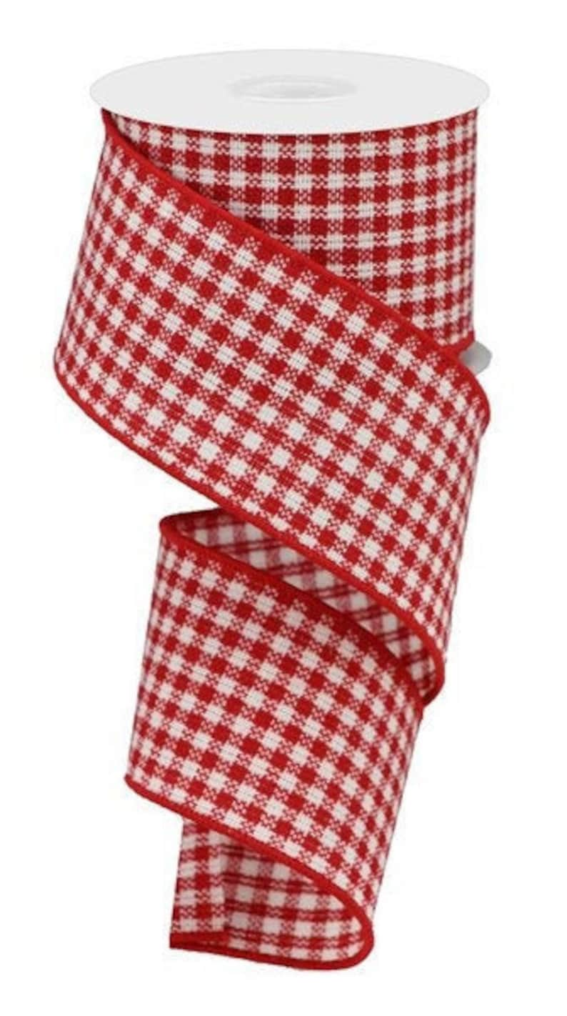 Red and White Mini Check Ribbon 2.5 x 10 Yards