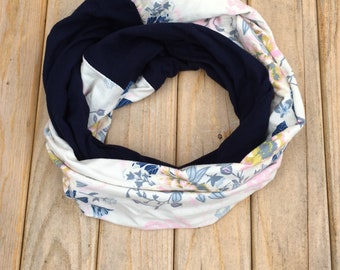 Navy & Floral Infinity Scarf