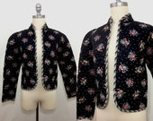 Vintage 70s DeLanthe Calico Quilted Prairie Jacket Extra Small