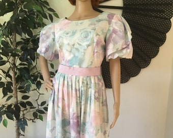 88b757dd68c Vintage 80s Lanz Originals Floral Watercolor Sundress Small