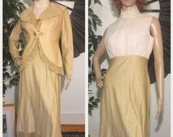 bd647467f4c Vintage 70s Gold Lurex Pleated Dress   Blazer Set Medium