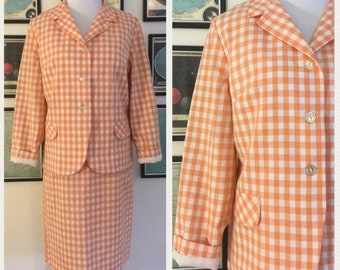 0489cc4f1ab5e Vintage 1960s 60s Sears Orange Sherbet Gingham Skirt Suit Perm Press  Machine Washable Pencil Skirt Summer Suit Casual Pastel Small