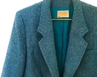 01be5a961b9 Vintage 60s Bright Blue Pendleton Wool Tweed Blazer Large