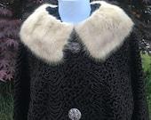 1960s Persian Lamb Fur Coat with Mink Collar, Astrakin Styled by Fairmoor, France, New York Store Framingham, Medium Large