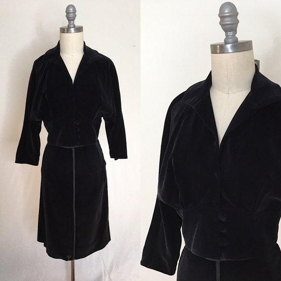 Vintage 40s Leyton Classic Velvet Skirt Suit Size